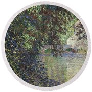 Water Mill At Limetz Round Beach Towel