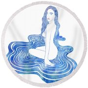 Water Nymph Cii Round Beach Towel