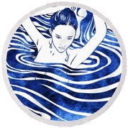 Water Nymph Iv Round Beach Towel