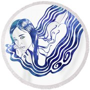 Water Nymph Ix Round Beach Towel