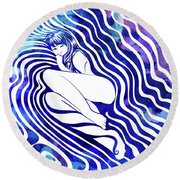 Water Nymph Vii Round Beach Towel