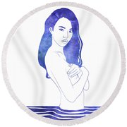 Water Nymph Xi Round Beach Towel