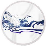 Water Nymph Xiii Round Beach Towel