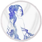 Water Nymph Xv Round Beach Towel
