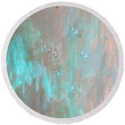 Water On Copper Round Beach Towel by T Fry-Green