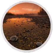 Water On Mars Round Beach Towel