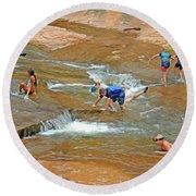 Water Play 3 Round Beach Towel