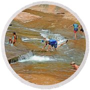 Round Beach Towel featuring the mixed media Water Play 3 by Lynda Lehmann