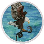Round Beach Towel featuring the painting Water Protector by Darice Machel McGuire