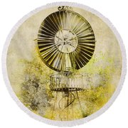 Round Beach Towel featuring the photograph Water-pumping Windmill by Heiko Koehrer-Wagner