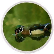 Male Wood Duck Water Reflections Round Beach Towel