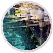 Round Beach Towel featuring the photograph Water Reflections by Francesca Mackenney