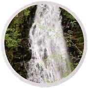 Water Roaring Down Cascade Falls, Farmington, Maine  -30377 Round Beach Towel
