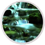 Round Beach Towel featuring the painting Water Rushing By A Rock In A River by Odon Czintos