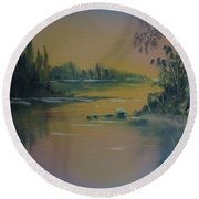 Water Scene 2a Round Beach Towel