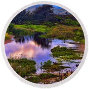 Water Scene Beauty 3 Round Beach Towel