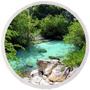 Round Beach Towel featuring the photograph Water Shallows by Francesca Mackenney