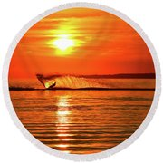 Water Skiing At Sunrise  Round Beach Towel