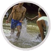 Water Soccer Round Beach Towel