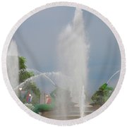 Water Spray - Swann Fountain - Philadelphia Round Beach Towel by Bill Cannon