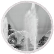 Water Spray - Swann Fountain - Philadelphia In Black And White Round Beach Towel by Bill Cannon