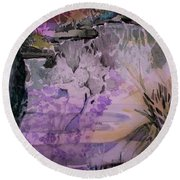 Round Beach Towel featuring the painting Water Sprite by Mindy Newman