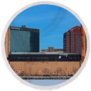 Water Street Steam Plant In Winter Round Beach Towel by Michiale Schneider