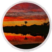 Winter Sunrise I Round Beach Towel