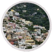 Water Taxi From Amalfi To Positano Round Beach Towel