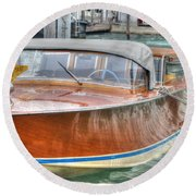 Water Taxi Italy Round Beach Towel