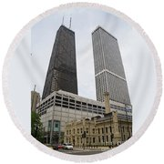 Water Tower Place And Company Round Beach Towel