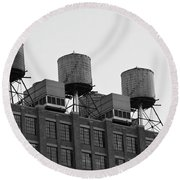 Water Towers Round Beach Towel
