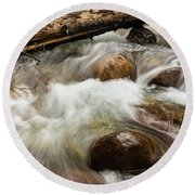Round Beach Towel featuring the photograph Water Under The Bridge by Alex Lapidus