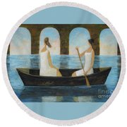 Round Beach Towel featuring the painting Water Under The Bridge by Glenn Quist