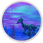 Round Beach Towel featuring the photograph Water Walkers by Mark Blauhoefer