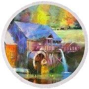 Round Beach Towel featuring the painting Water Wheel Cottage by Wayne Pascall