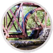 Water Wheel Round Beach Towel
