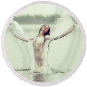 Water Wings Round Beach Towel by Vitaly Vakhrushev