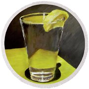 Water With A Lemon...please Round Beach Towel