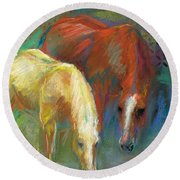 Round Beach Towel featuring the painting Waterbreak by Frances Marino