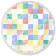 Watercolor Abstract Squares 2 Round Beach Towel by Keshava Shukla