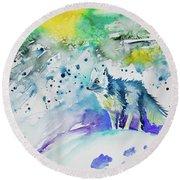 Watercolor - Arctic Fox Round Beach Towel