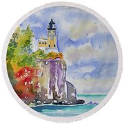 Watercolor - Autumn At Split Rock Lighthouse Round Beach Towel