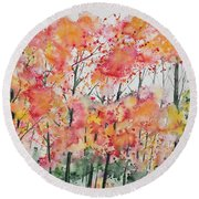 Watercolor - Autumn Forest Round Beach Towel