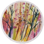 Watercolor - Autumn Forest Impression Round Beach Towel