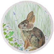 Watercolor - Baby Bunny Round Beach Towel