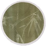 Watercolor Bamboo 01 Round Beach Towel