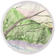 Watercolor Barn Round Beach Towel