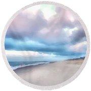 Watercolor Beach Round Beach Towel