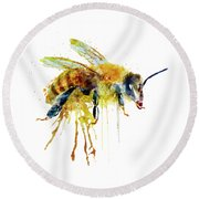 Watercolor Bee Round Beach Towel